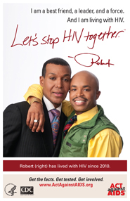Let's Stop HIV Together. Robert. Photo of Robert with arm around his friend, smiling.
