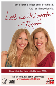 Let's Stop HIV Together. Regan. Photo of Regan and her sister, with their arms around each other and smiling.
