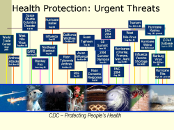 Health Protection: Urgent Threats CDC has been operating in emergency mode 28 times in the past 5 years. (and in some major ways this has affected you: smallpox clinics, anthrax detection, SARS protocols, etc) Over the last five years, we all have faced unprecedented threats to health and safety. (Tsunami, Hurricanes Katrina & Rita, SARS, West Nile Virus…) But we can combat these successfully. We can reduce disparities. And we can protect the nation's health and economic security. But we can do this only if bold steps are taken to rebalance the current investment portfolio. Health protection must be prioritized—through preparedness; health promotion; and disease, injury, and disability prevention—at least as much as disease treatment is prioritized, and these actions must occur now. Moreover, health protection research also must be prioritized to create a solid evidence-based foundation for the policies, programs, and practices necessary for success—at least as much as biomedical research is prioritized.