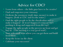 Advice for CDC? Learn from others – the little guys have to be creative! Find and empower your visionary. Dedicate the resources (staff, time, money) to make it happen. (Both at CDC and for the states.) Find the right people to be the cheerleaders and to make it happen! (It won't happen if someone isn't pushing it along and supported from the top!) Engage the right people in the process up front and get buy-in. (This meeting is a very good start!) Start with small wins where you can get them and build from there. Keep the focus on the client. Celebrate your successes!
