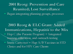 2001 Reorg: Prevention and Care Reunited; Lost Surveillance Began integrating planning groups, processes 2003 Reorg & ELC Grant: Added Immunizations, Hepatitis to the Mix Hep C (the Parasite Program) = Integrated training, education, and outreach testing Imms Carryover = Hep A/B Vaccines in STD Clinics and for HIV Care Clients