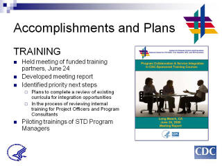 Accomplishments and Plans: TRAINING. Held meeting of funded training partners, June 24. Developed meeting report. Identified priority next steps. Plans to complete a review of existing curricula for integration opportunities. In the process of reviewing internal training for Project Officers and Program Consultants Piloting trainings of STD Program Managers. Screenshot: PCSI in CDC-Sponsored Training Courses document.