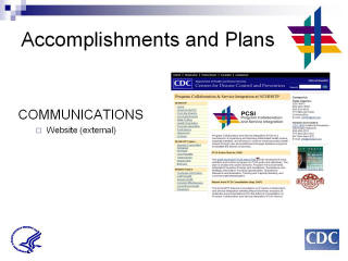 Accomplishments and Plans: COMMUNICATIONS. Website (external). Screenshot: Program Collaboration & Service Integration at NCHHSTP website