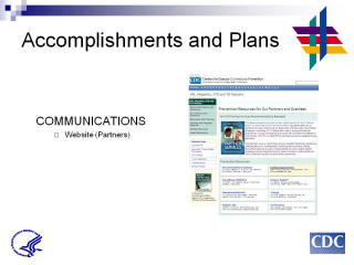 Accomplishments and Plans: COMMUNICATIONS. Website (partners). Screenshot: Prevent Resources for Our Partners and Grantees website.