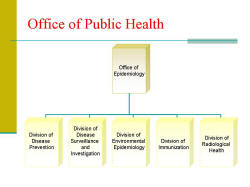 Office of Public Health Organization Chart Office of Epidemiology Division of Disease Prevention Division of Disease Surveillance and Investigation Division of Environmental Epidemiology Division of Immunization Division of Radiological Health