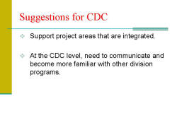 Suggestions for CDC Support project areas that are integrated. At the CDC level, need to communicate and become more familiar with other division programs.