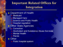 Important Related Offices for Integration Department of Health - Medicaid - Managed Care - Science and Public Health - Hospital regulation Other State Agencies - Correction - Alcoholism and Substance Abuse Services - Mental Health - Parole Other Pubic hospital system