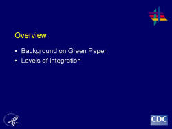 Overview    Background on Green Paper  Levels of integration