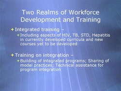 Two Realms of Workforce Development and Training Integrated training – Including aspects of HIV, TB, STD, Hepatitis in currently developed curricula and new courses yet to be developed Training on integration – Building of integrated programs; Sharing of model practices; Technical assistance for program integration