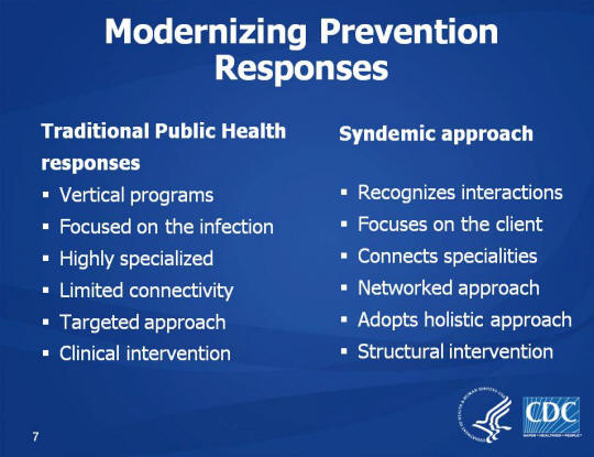 Modernizing Prevention Responses. Traditional Public Health responses. Vertical programs, Focused on the infection, Highly specialized, Limited connectivity, Targeted approach, Clinical intervention. Syndemic approach. Recognizes interactions, Focuses on the client, Connects specialities. Networked approach, Adopts holistic approach. Structural intervention