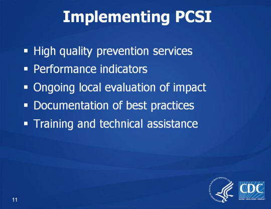 Implementing PCSI. High quality prevention services. Performance indicators. Ongoing local evaluation of impact. Documentation of best practices. Training and technical assistance