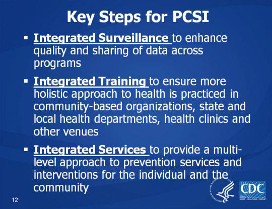 Key Steps for PCSI. Integrated Surveillance to enhance quality and sharing of data across programs. Integrated Training to ensure more holistic approach to health is practiced in community-based organizations, state and local health departments, health clinics and other venues. Integrated Services to provide a multi-level approach to prevention services and interventions for the individual and the community