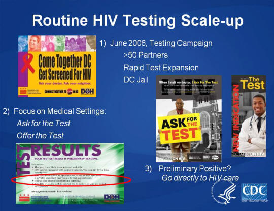 Routine HIV Testing Scale-up. 2) Focus on Medical Settings: Ask for the Test. Offer the Test. 1) June 2006, Testing Campaign >50 Partners, Rapid Test Expansion. DC Jail. Images: Come Together DC Get Screened for HIV Poster, ASK for the TEST Poster, New Indication the Test Poster, Test Results sample.