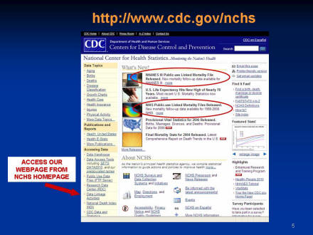 Picture of slide 3 as described above, which includes a picture of the NCHS web page.