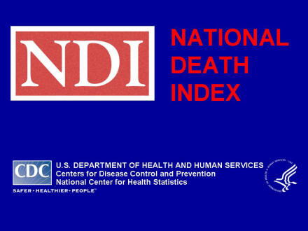 Picture of slide 1 as described above, which includes a picture of the National Death Index logo.