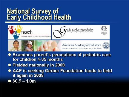 Picture of slide 11 as described above, which includes pictures of the National Survey of Early Childhood Health, Gerber Foundation, and American Academy of Pediatrics logos.