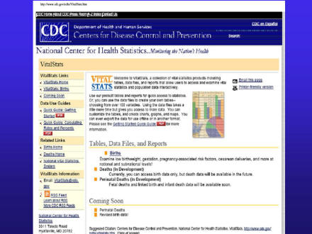Picture of slide 16 as described above, which includes a picture of the National Center of Health Statistics Vital Stats web page