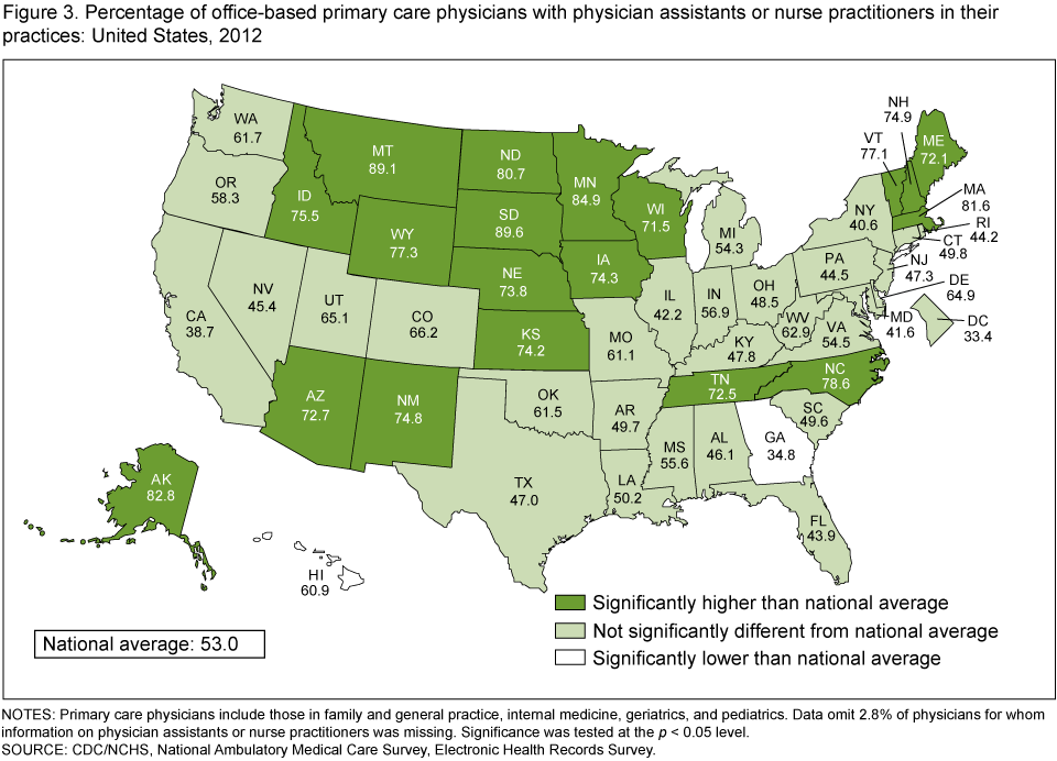 Products Data Briefs Number May - Map of physician assistant programs in us