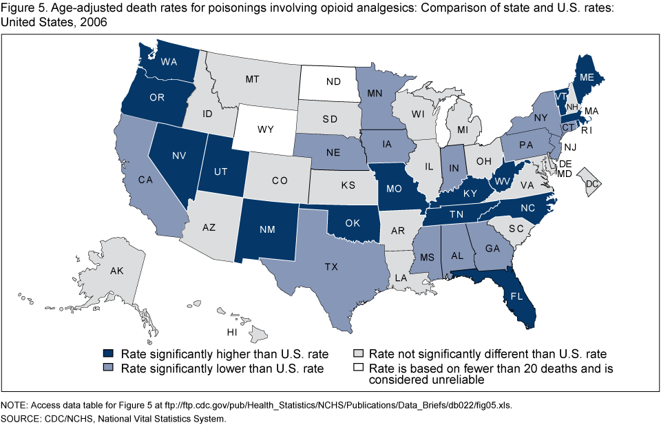Products Data Briefs Number September - Drug addiction us map by styate