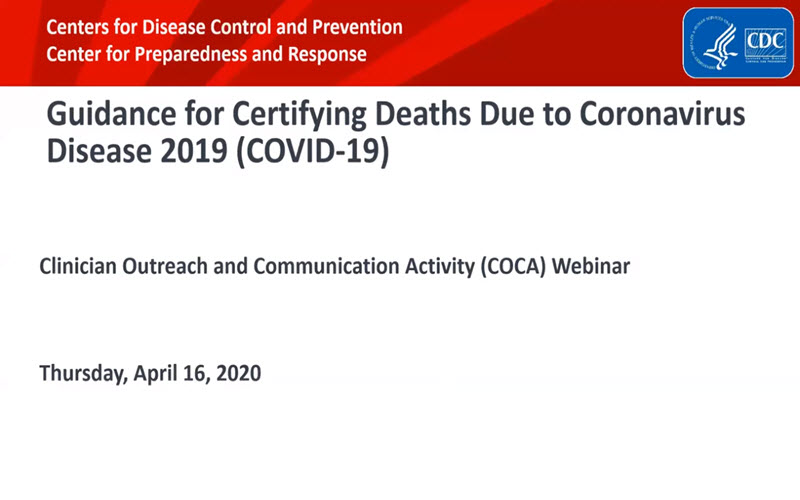 Video thumbnail, Guidance for Certifying Deaths Due to Coronavirus Disease 2019 (COVID-19)