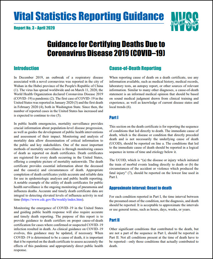 Thumbnail, Guidance for Certifying Deaths Due to Coronavirus Disease 2019 (COVID–19)