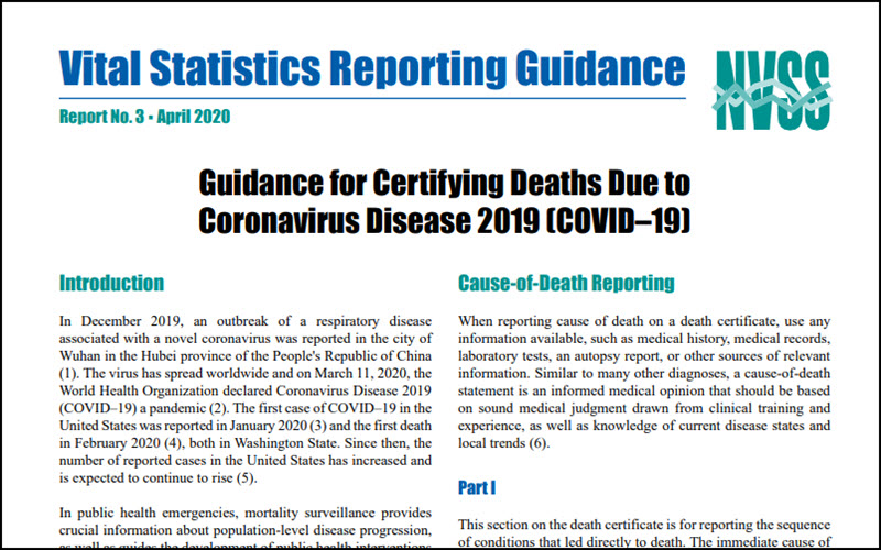 Guidance for Certifying Deaths Due to Coronavirus Disease 2019 (COVID–19)