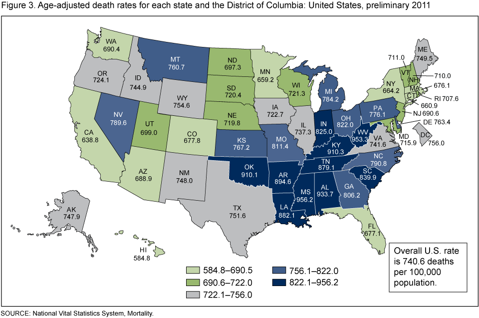Products Data Briefs Number March - Cdc cancer deaths 2013 map of us