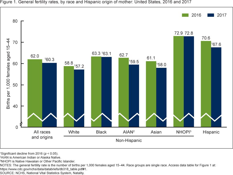 Figure 1 is a bar chart showing the general fertility rate by race and Hispanic origin in the United States from 2016 and 2017.