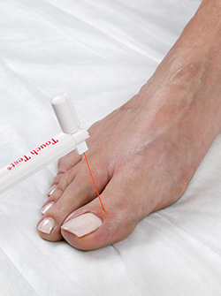 Photo of a foot being tested for feeling