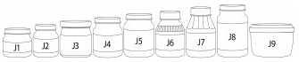 A set of 9 baby food jars, reading J1 through J9 from left to right