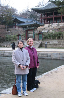 Drs. Rosemarie Hirsh (left) and Kathryn Porter (right) visiting the Changgyeonggung Palace Ponds (Joseon Dynasty).