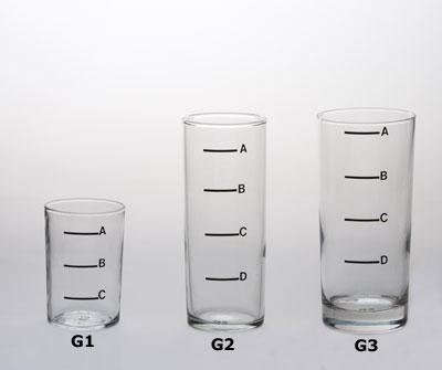 Three glasses of varying heights and volume. From left to right: G1, G2, G3