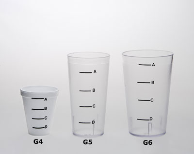 Three glasses of varying heights and volume. From left to right: G4, G5, G6