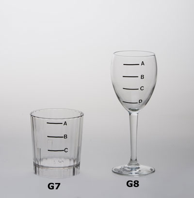 Highball glass and wine glass with measuring lines