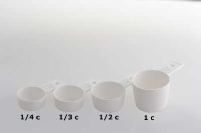 Four measuring cups of varying volume