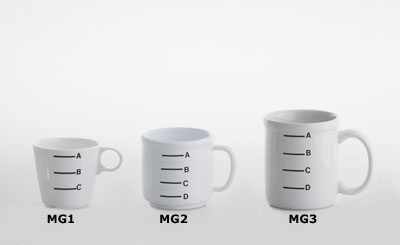 Three measuring cups of varying height and volume