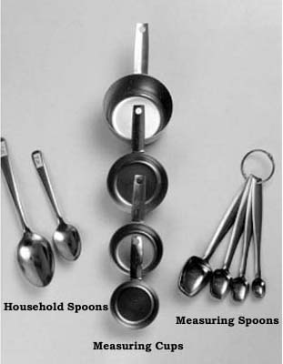 Household spoons, measuring cups, and measuring spoons