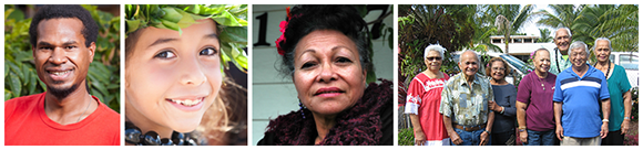 photo collage of Native Hawaiian and Pacific Islanders.