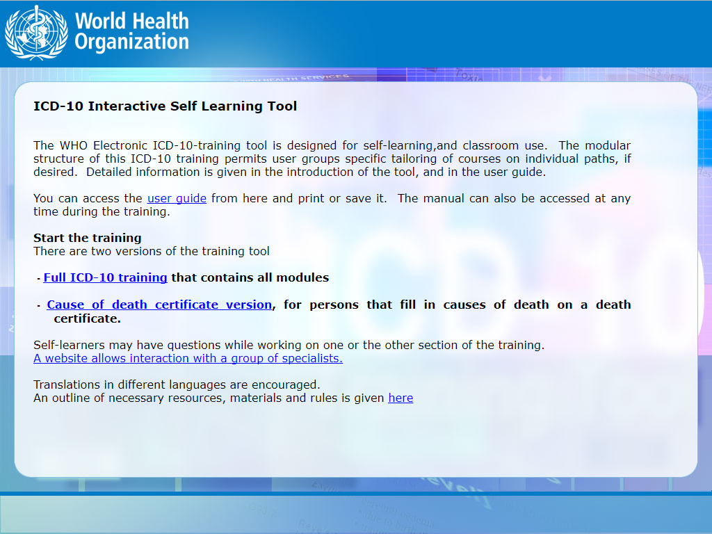 Screenshot, ICD-10 Interactive Self Learning Tool