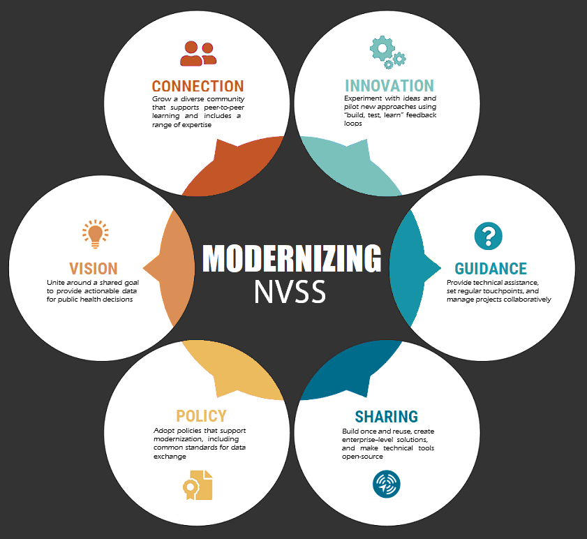 circles showing guiding principles of Modernizing NVSS