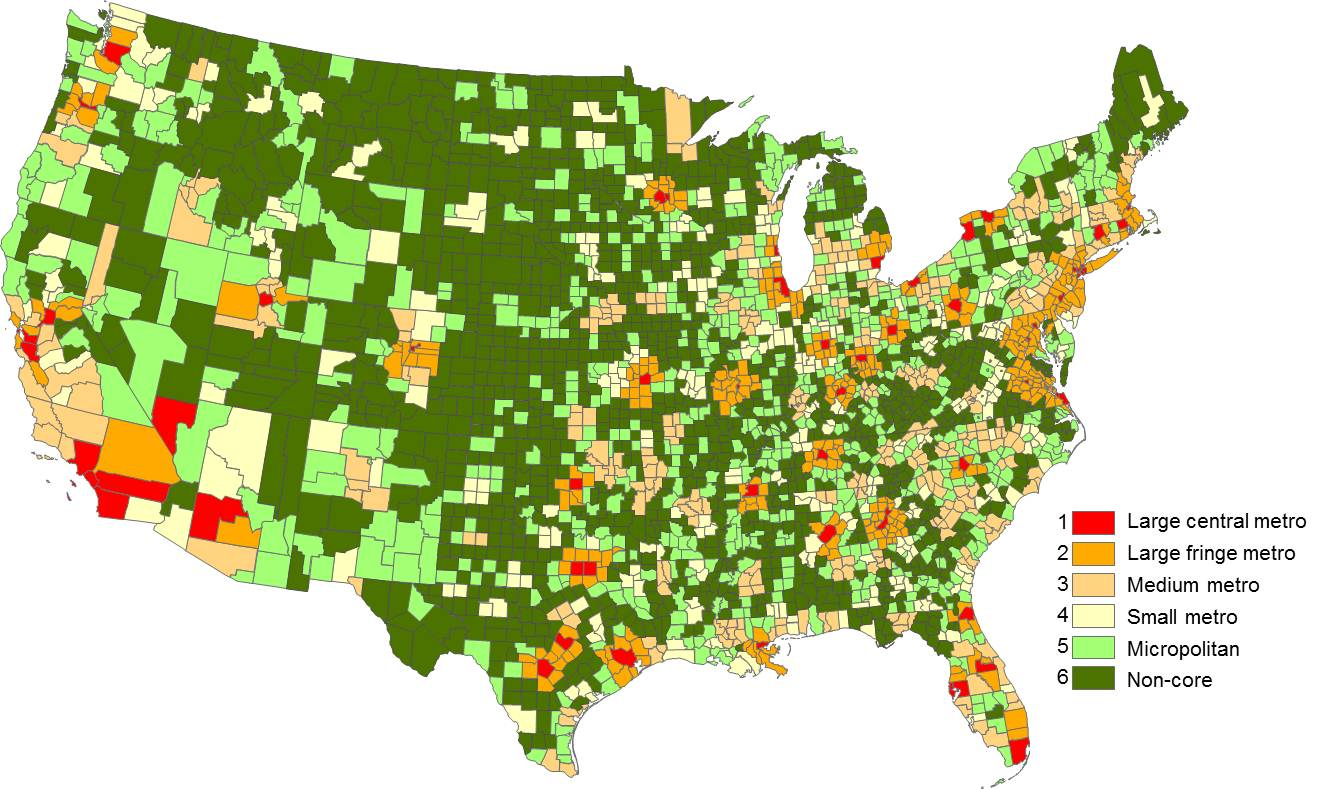 This map shows all U.S. counties and county equivalents and their classification under the 2006 NCHS Urban-Rural Classification Scheme for Counties. Large central metro counties are red, large fringe metro counties are orange, medium metro counties are yellow, small metro counties are white, micropolitan counties are light green, and noncore counties are dark green. The map illustrates that the eastern half of the United States is more densely settled than the western half. The map also illustrates the differences in county size -- smaller counties east of the Mississippi and larger counties west of the Mississippi.