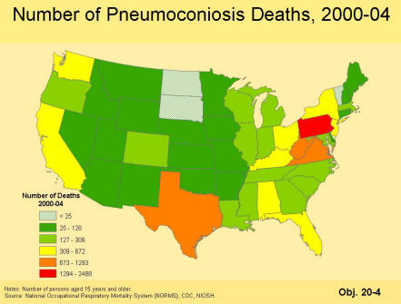 A picture of a map that contains the number of pneumoconiosis deaths for the period 2000 to 2004 by state as a color coded map with six categories of number of deaths.