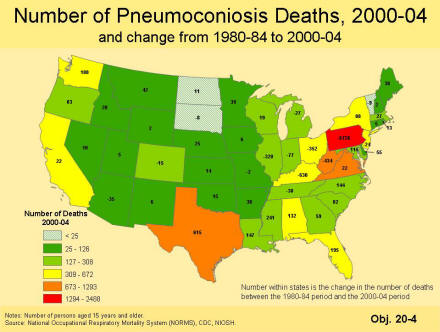 A picture of a map that contains the number of pneumoconiosis deaths for the period 2000 to 2004 by state as a color coded map with six categories of number of deaths and has the change in the number of deaths by state between the 1980 and 1984 period and the 2000 to 2004 period.