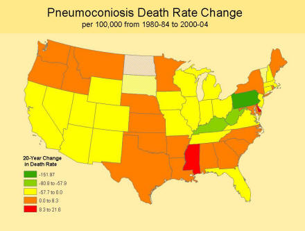 A picture of a map showing the pneumoconiosis death rate change in the last 20 years.  The chart shows that about half the states have show an increase in the pneumoconiosis death rate.