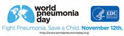 logos for world pneumonia day and hhs/cdc