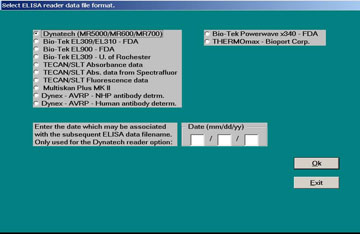 Figure 4. Dialog window for Module 1 - Process ELISA Reader Data.