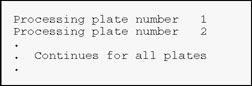 Processing plate number 1; Processing Plate Number 2...Continues for all plates