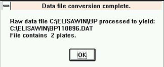 Datafile conversion complete. Raw data file processed to yield: File contains 2 plates.