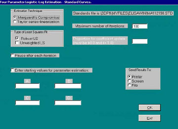 Figure 11. Dialog window for Module 4 - Parameter Estimation.