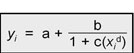 Y, (subscript i) equals a plus b divided by 1 plus c(x (subscript i)(superscript d))